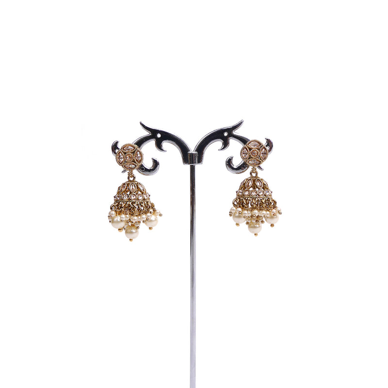Rupi Jhumka Earrings in Pearl