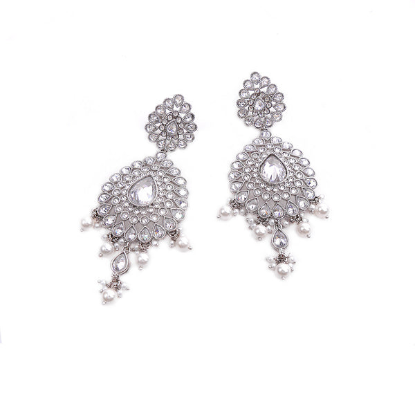 Rhodium Teardrop Earrings