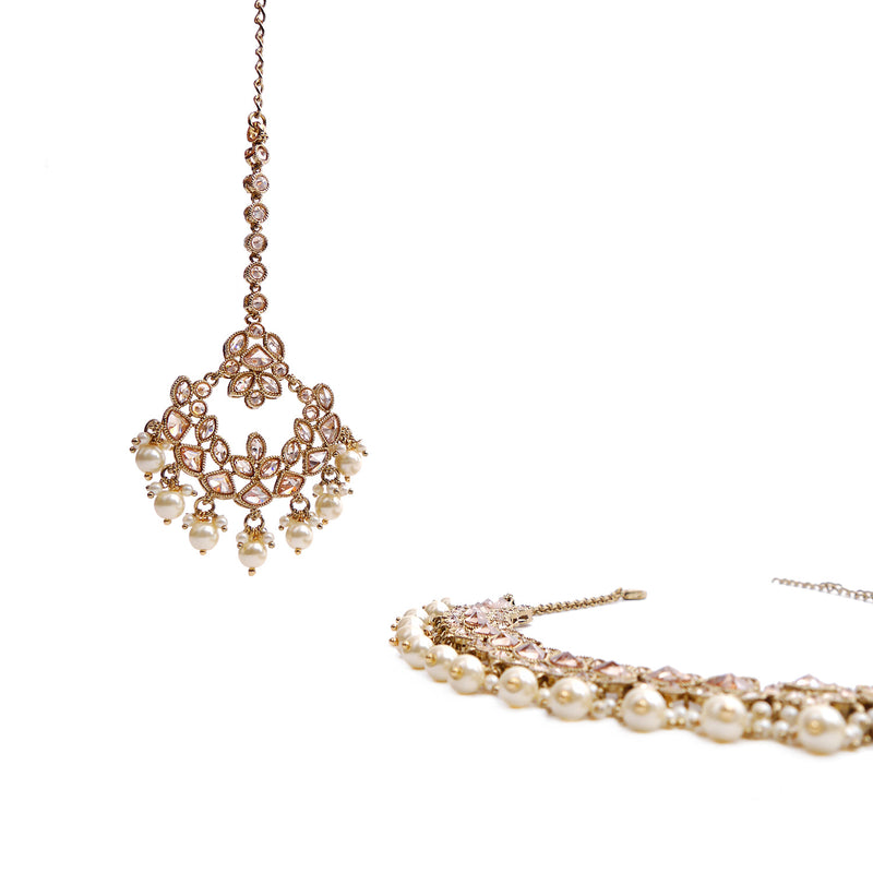 Raadhi Necklace Set in Pearl and Antique Gold