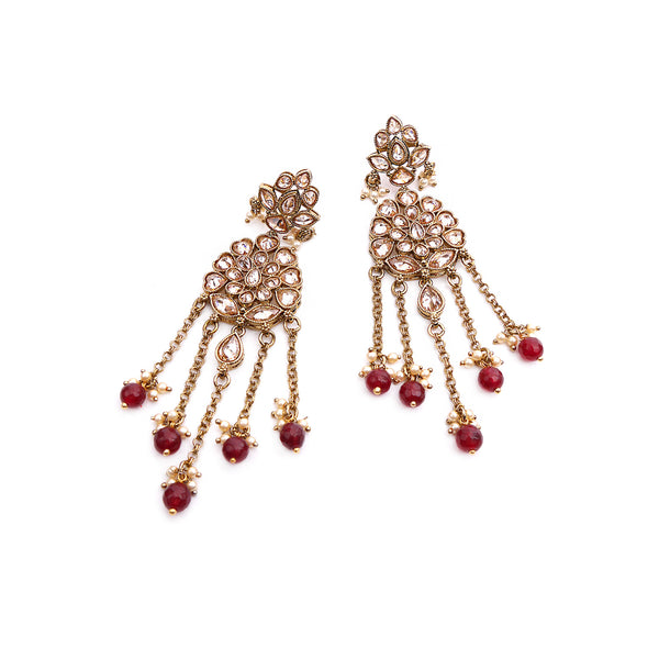 Aparna Long Earrings in Maroon