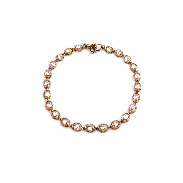 Oval Crystal Anklet in Gold