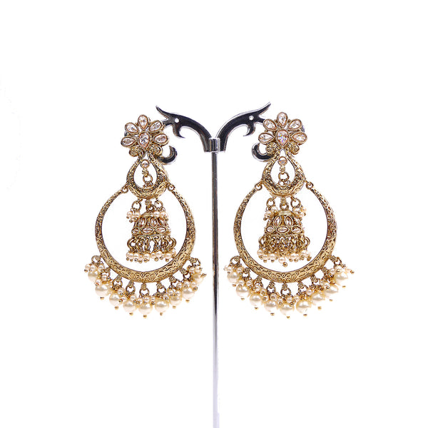 Double Chandbali Earrings in Gold