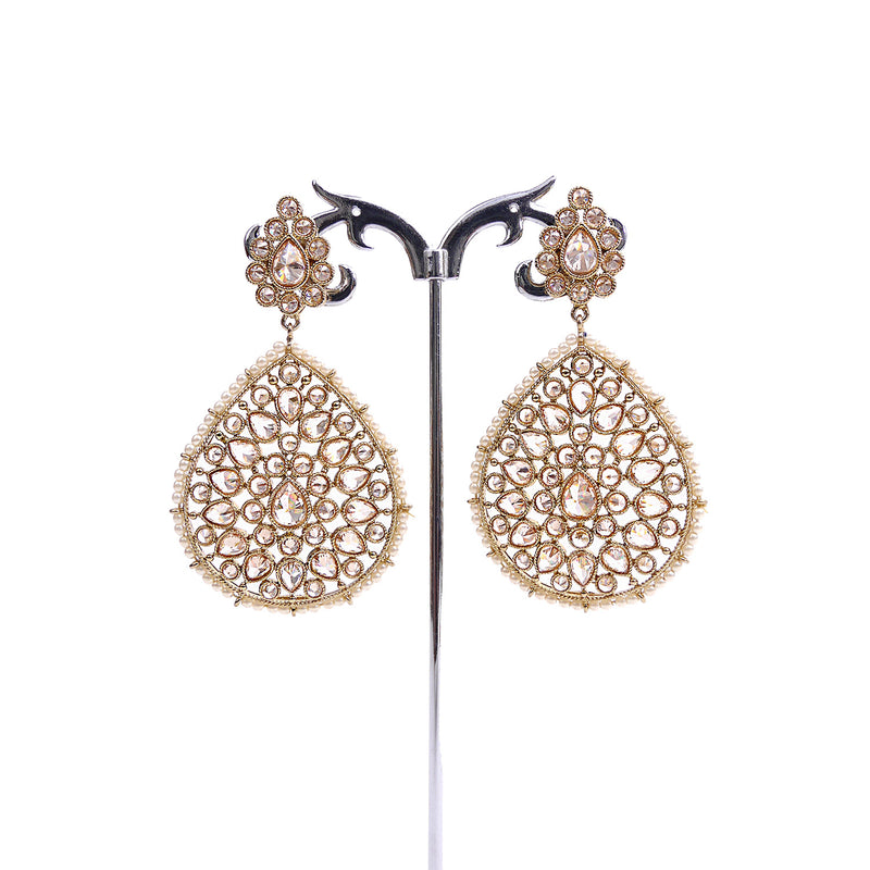 Sparkle Teardrop Earrings in Pearl and Antique Gold