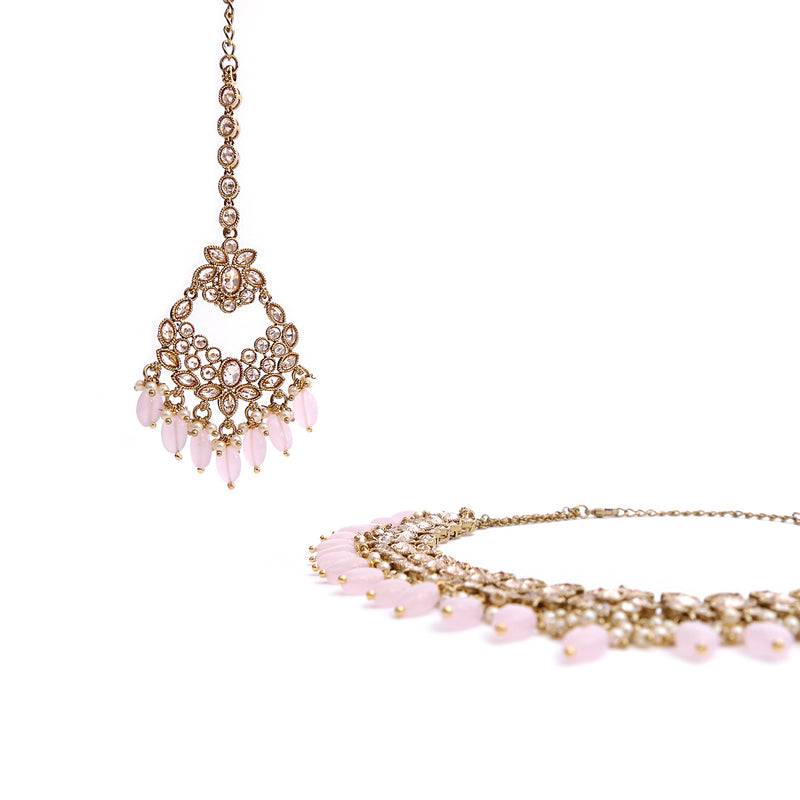 Aditi Necklace Set in Baby Pink and Antique Gold