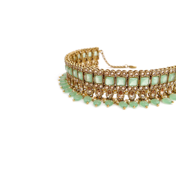 Larisa Choker Set in Mint and Antique Gold
