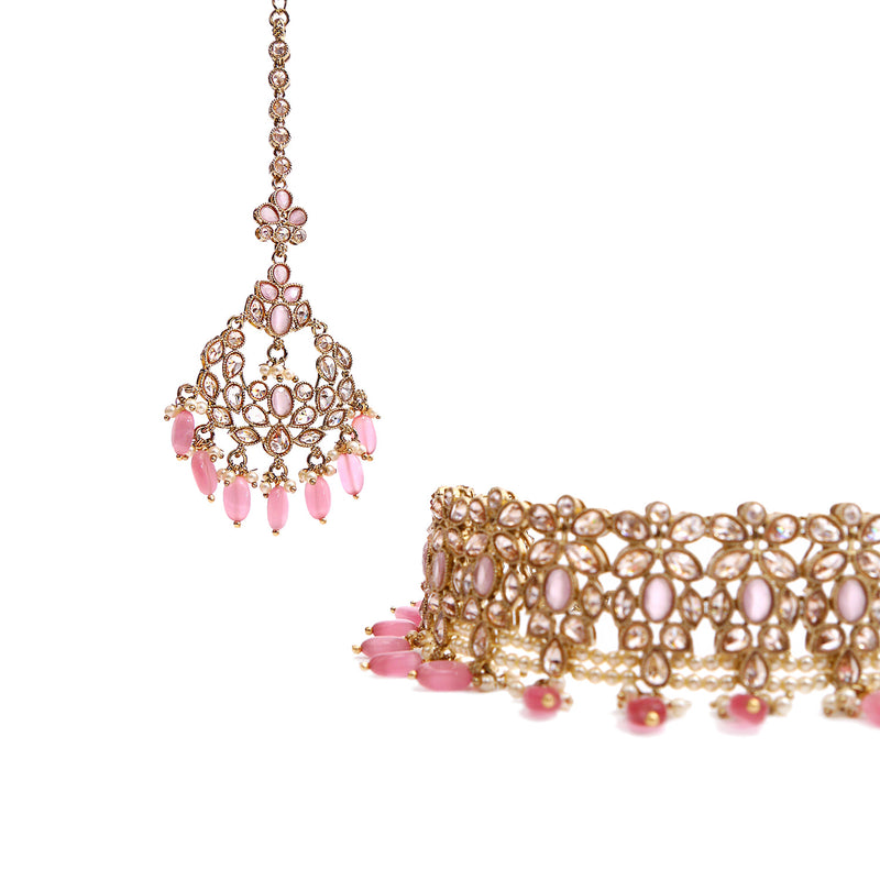 Dina Choker Set in Pink and Antique Gold