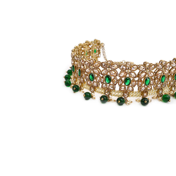 Dina Choker Set in Emerald and Antique Gold