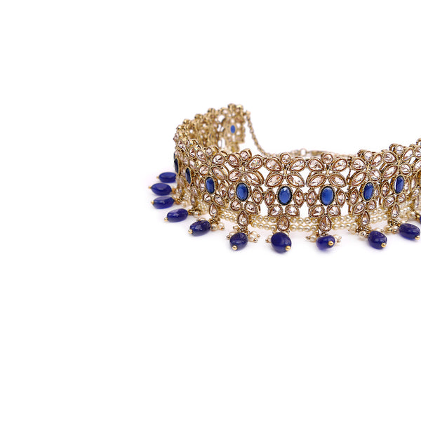 Dina Choker Set in Blue and Antique Gold