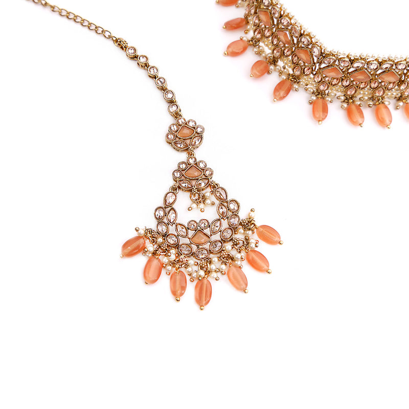Evani Choker Set in Peach and Antique Gold