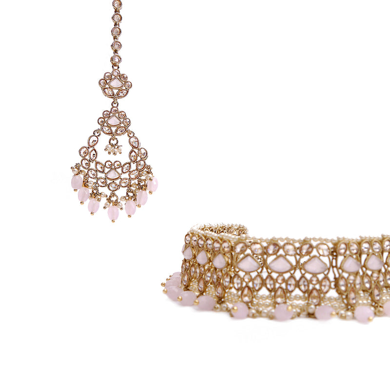 Evani Choker Set in Baby pink and Antique Gold