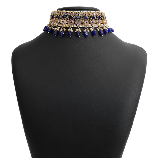 Evani Choker Set in Blue and Antique Gold