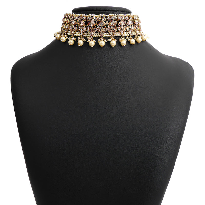 Evani Choker Set in Pearl and Antique Gold