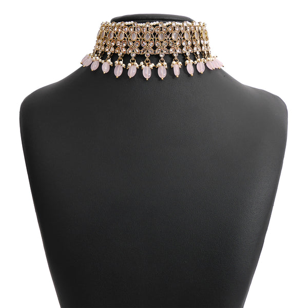 Mira Choker Set in Baby Pink and Antique Gold