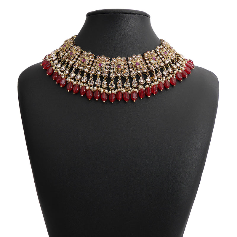 Ruby Bridal Necklace Set in Antique Gold