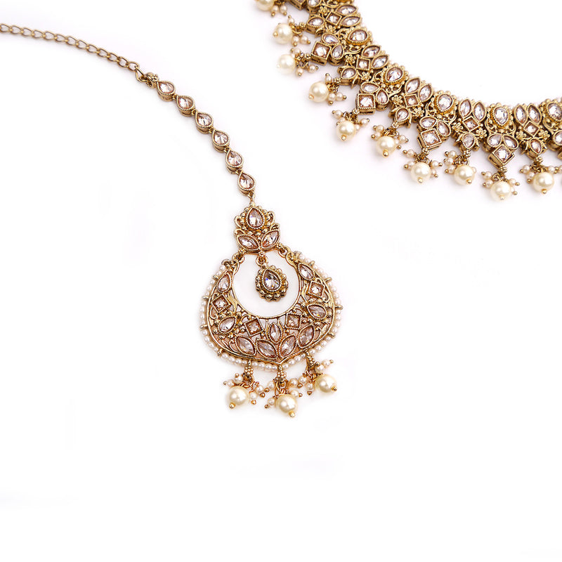 Rutvi Necklace Set in Pearl and Antique Gold