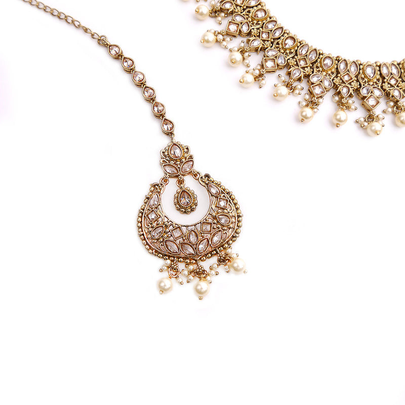 Rutvi Necklace Set in Gold Bead and Antique Gold