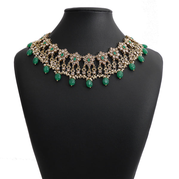 Niya Necklace Set in Emerald and Antique Gold