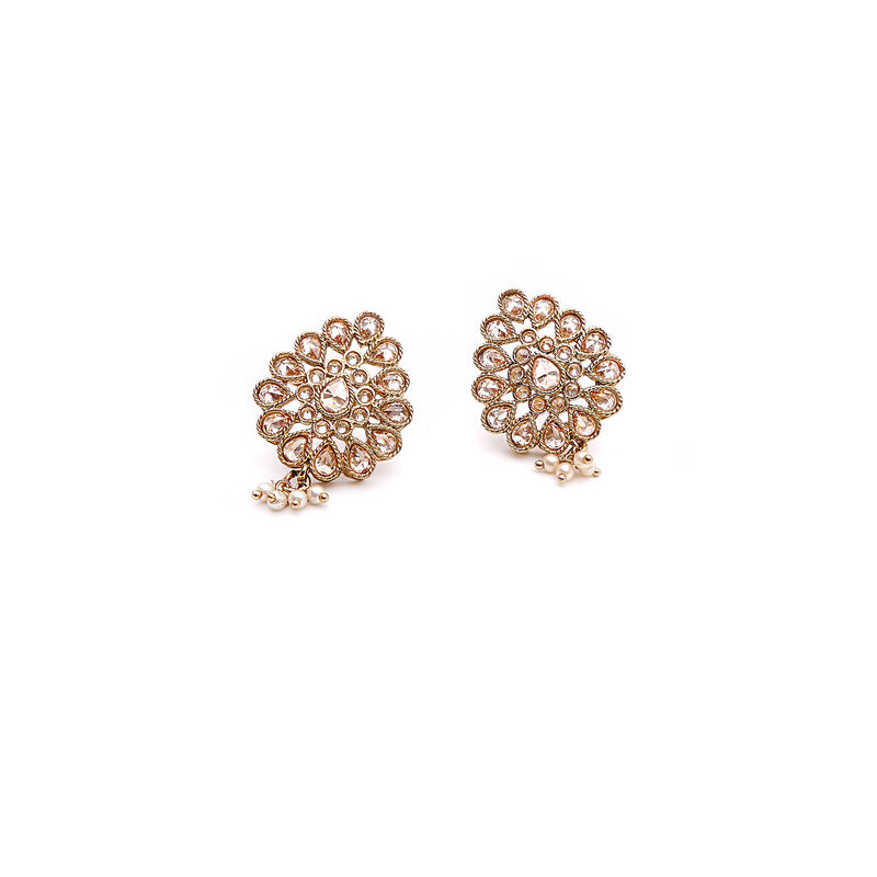 Pear and Pearl Stud Earrings