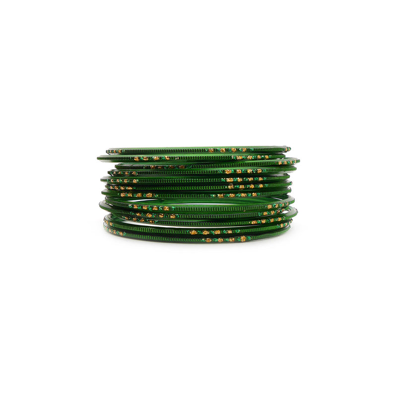 Emerald Glitter Etched Bangles