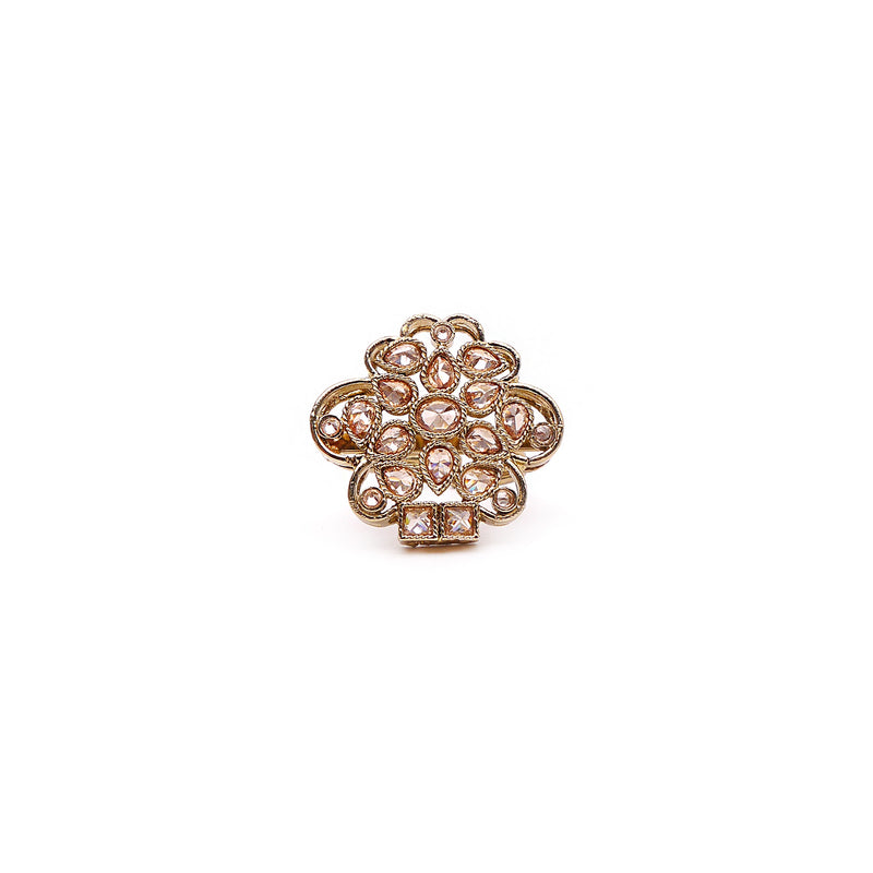 Lily Petal Ring in Champagne Crystal