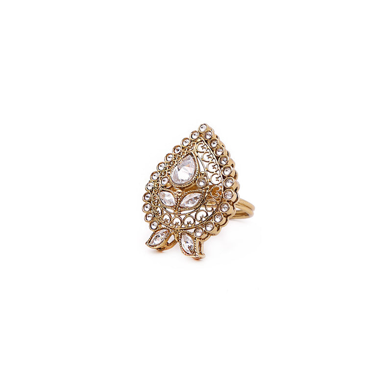 Floral Filigree Ring in Antique Gold