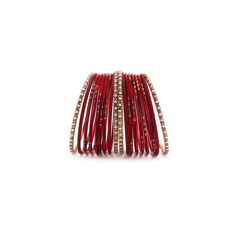Festive Maroon and Antique Gold Bangle Set