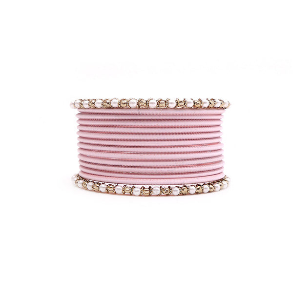 No Drama Bangle Set in Baby Pink and Antique