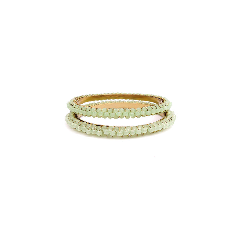 Crystal Beaded Bangles in Mint