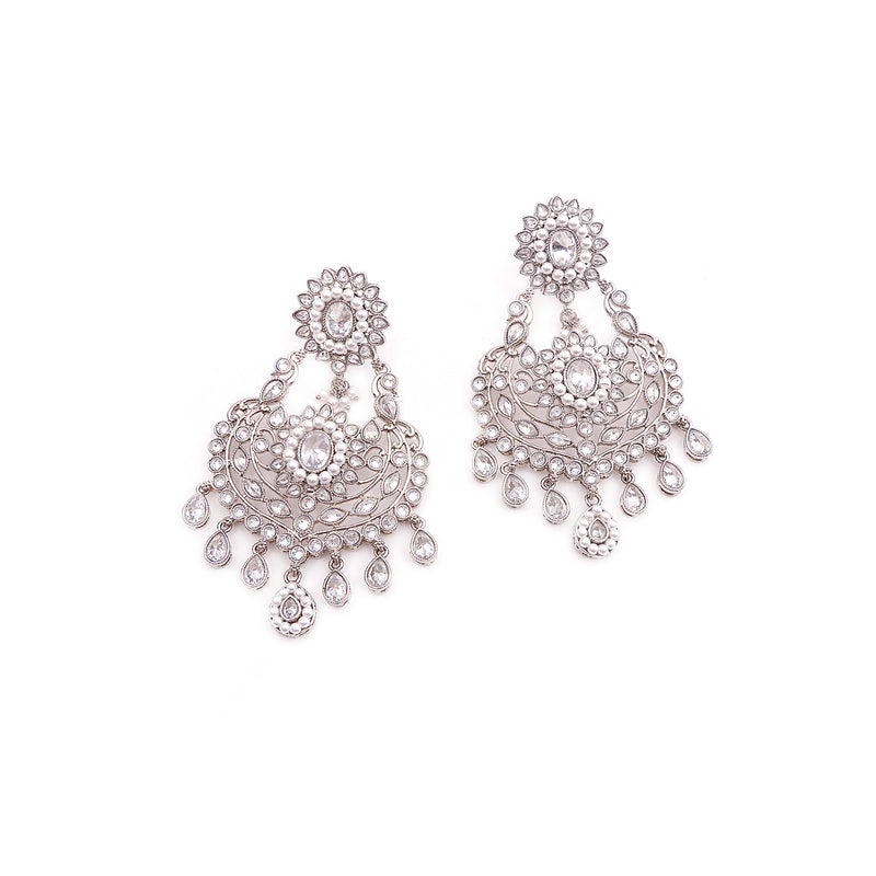 Fern Silver Earrings with Pearls