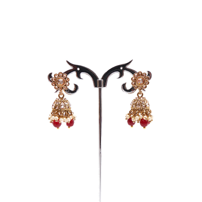 Small Daisy Jhumka Earrings in Red