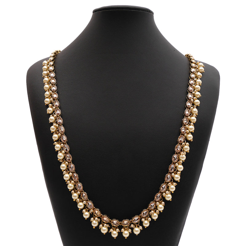 Kyra Long Chain in Pearl and Antique Gold