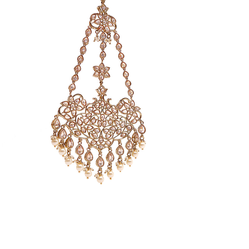 Stately Jhumar in Pearl and Antique Gold