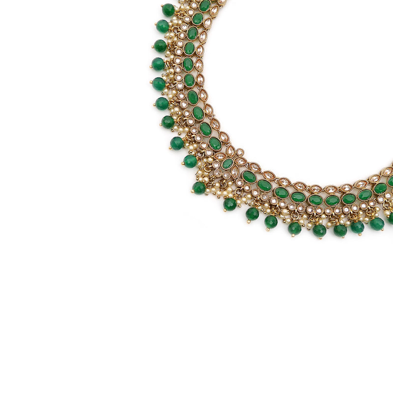 Aditi Necklace Set in Emerald and Antique Gold