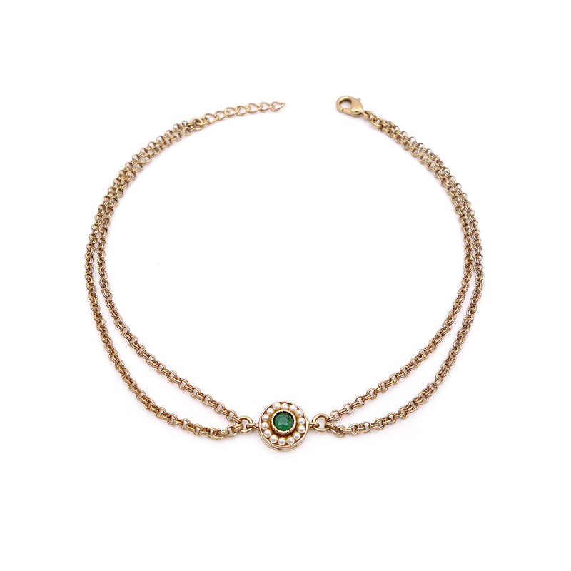 Leela Double Chain Anklet in Emerald