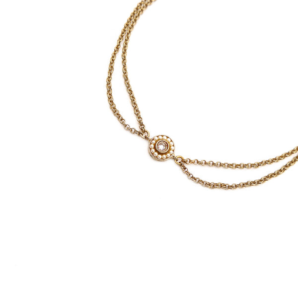Leela Double Chain Anklet in Champagne