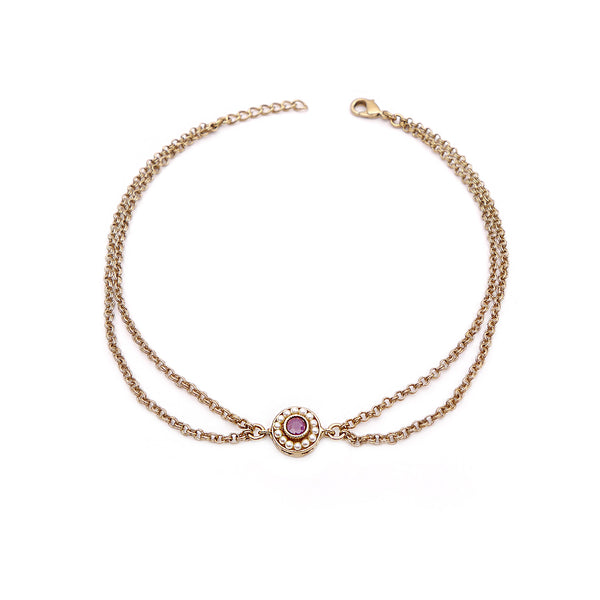 Leela Double Chain Anklet in Pink