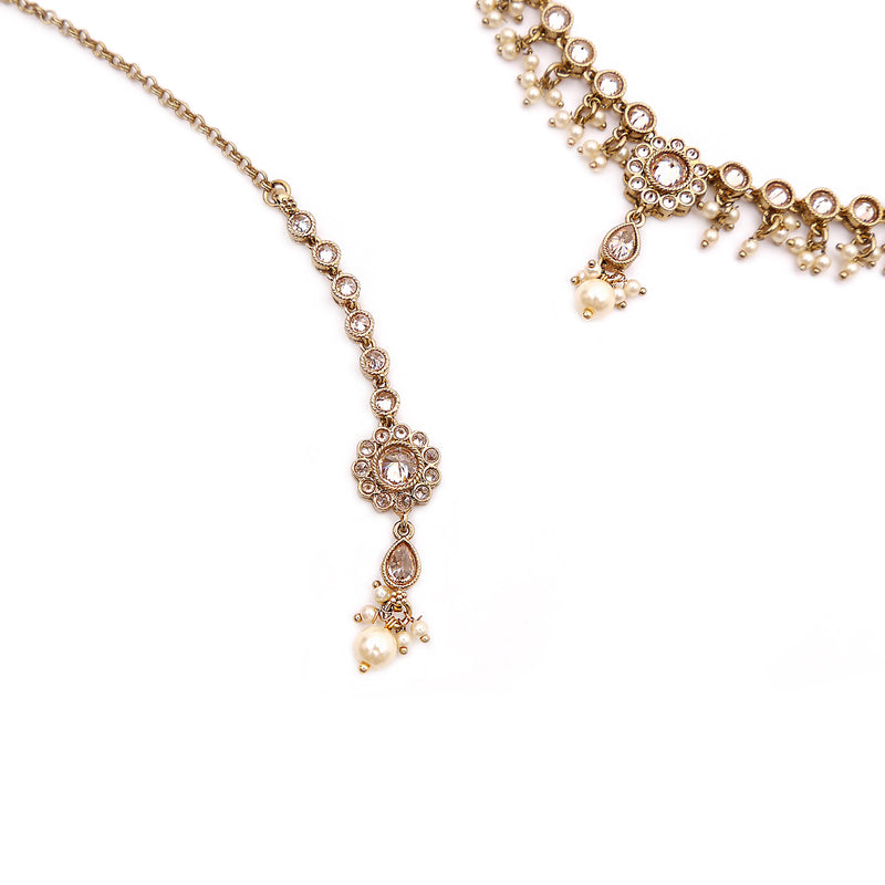 Esta Necklace Set in Pearl and Antique Gold
