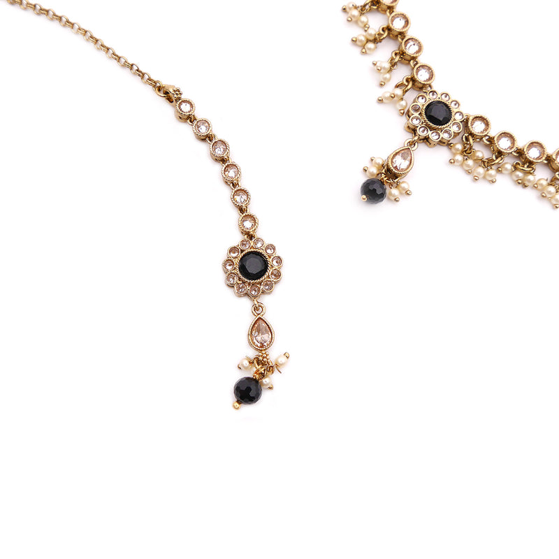 Esta Necklace Set in Black and Antique Gold