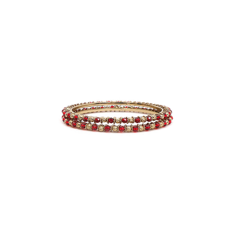 Red Crystal Beaded Bangles
