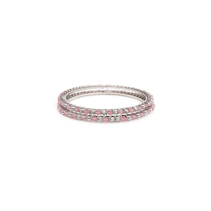Pink and Silver Crystal Beaded Bangles