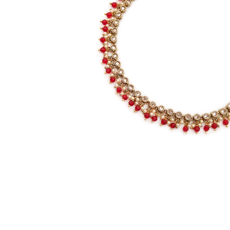 Eliza Necklace in Red and Antique Gold