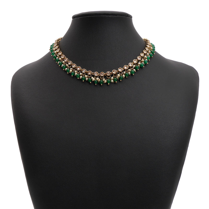 Eliza Necklace in Emerald and Antique Gold