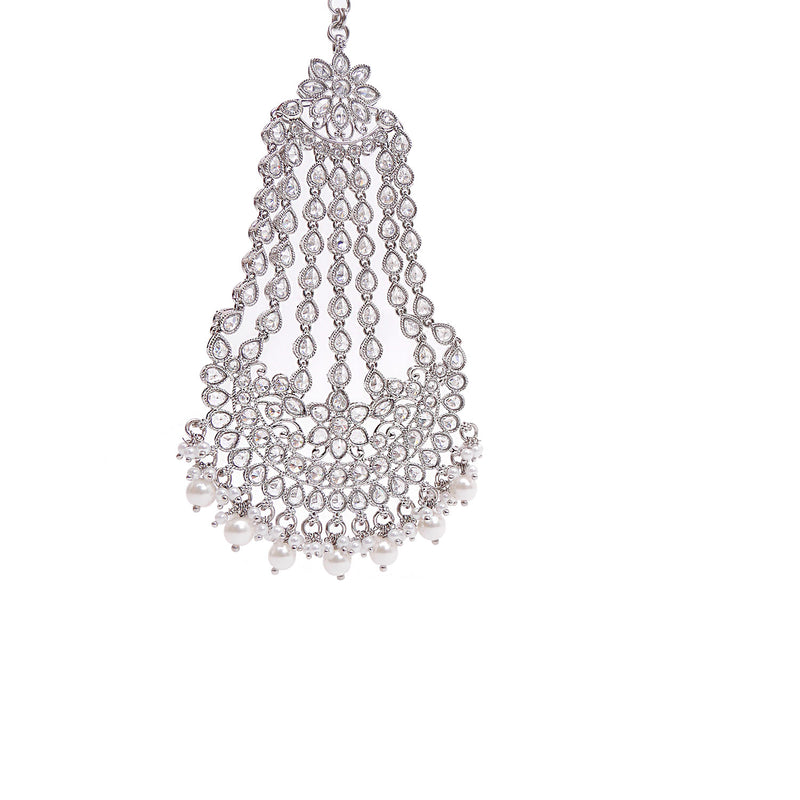 White Crystal Jhumar in Rhodium