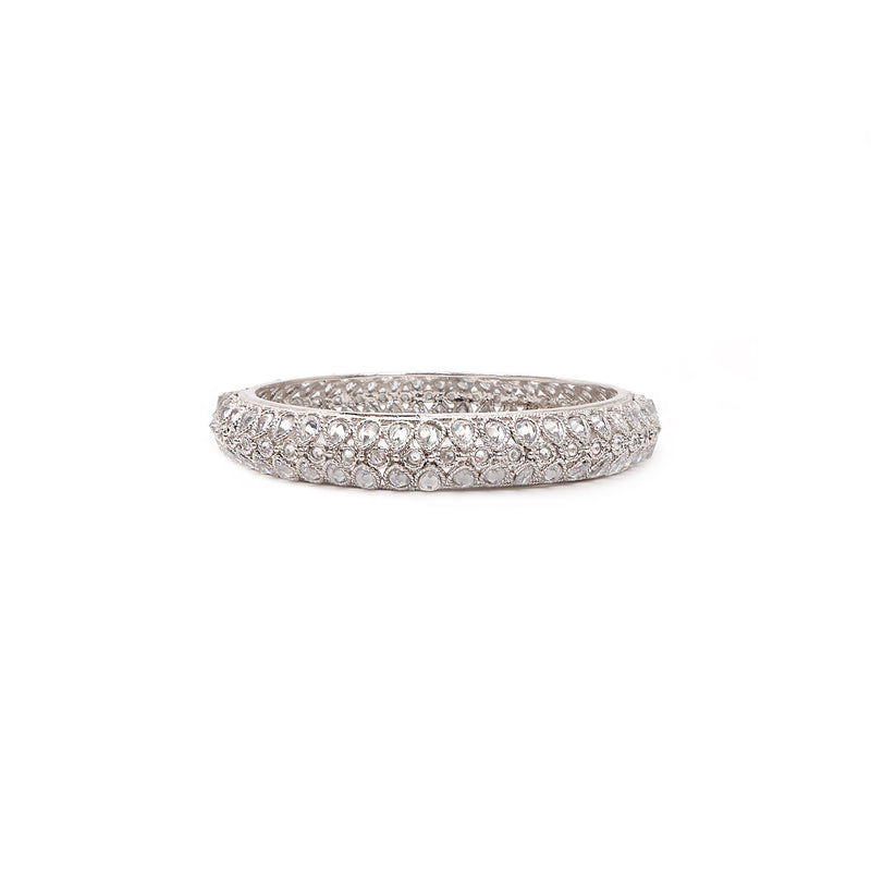 Rhodium White Crystal Bangle