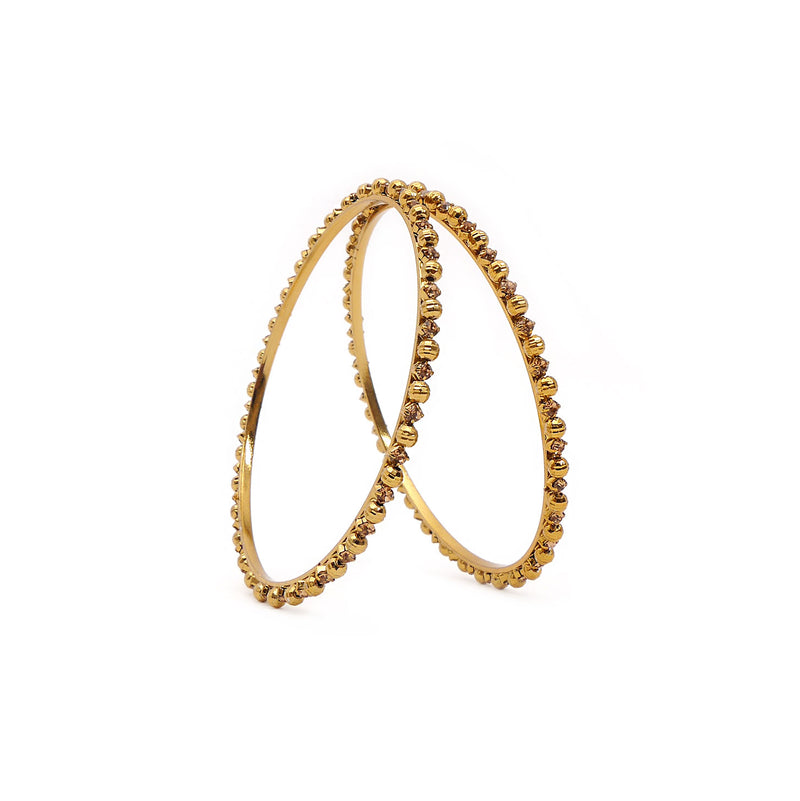 Facet Beaded Champagne Thin Bangles