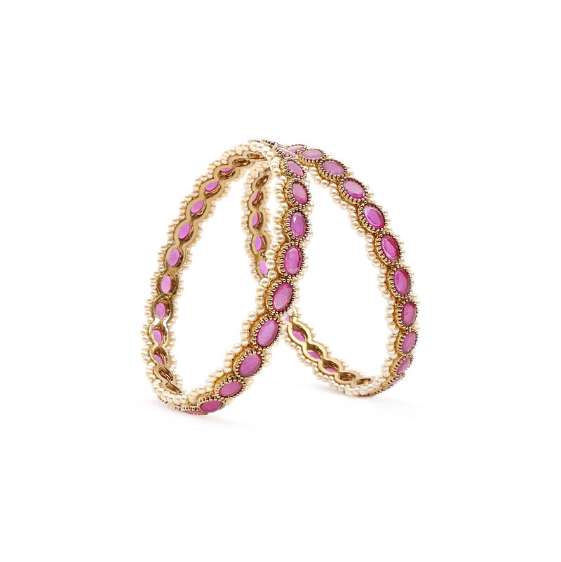 Ruby Oval and Pearl Bangles