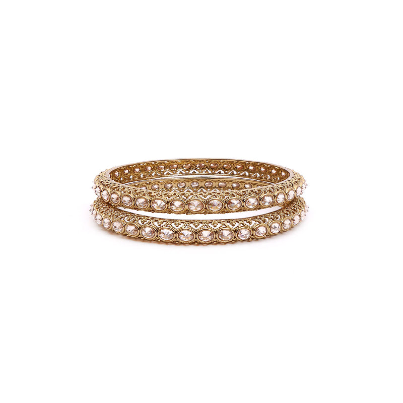 Antique Gold Oval Crystal Bangles