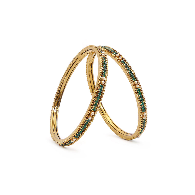 Emerald and Pearl Antique Bangles