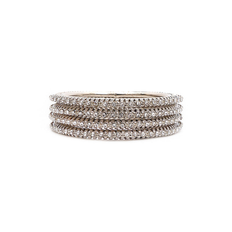 Silver Crystal and Mesh Bangles
