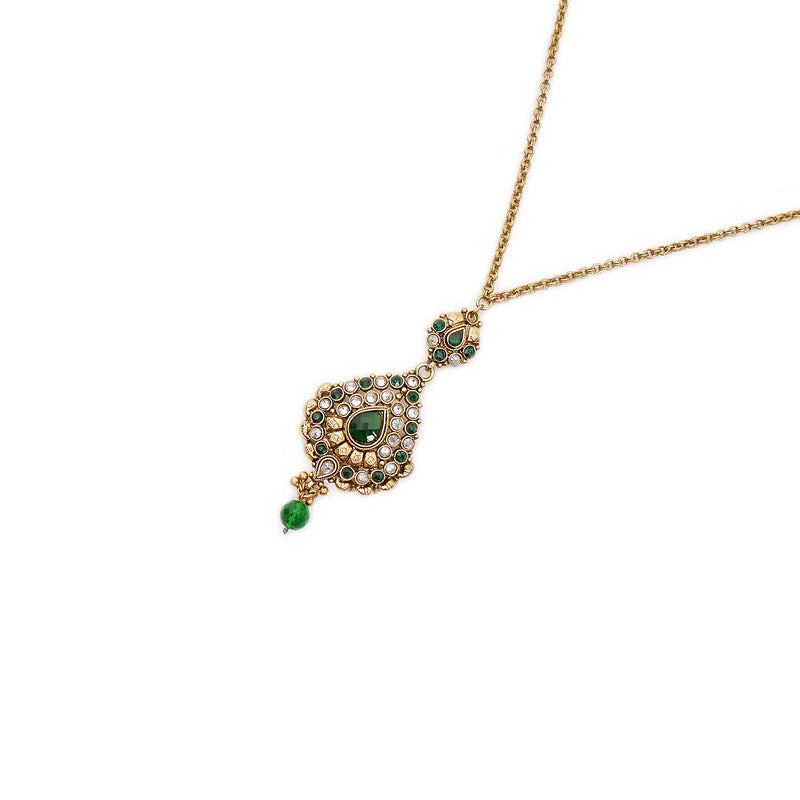 Emerald Oversized Pendant in Antique Gold